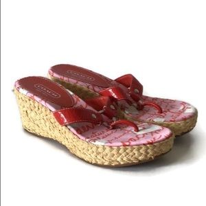 Coach Electra Red Espadrilles Wedge Sandals,7.5